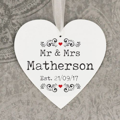Personalised Mr & Mrs Hanging Heart